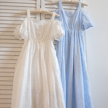 Free Shipping High Quality 2019 New Fashion Lace Cotton Embroidery Dresses Summer Long Maxi Sleeveless White Dress Japan Style