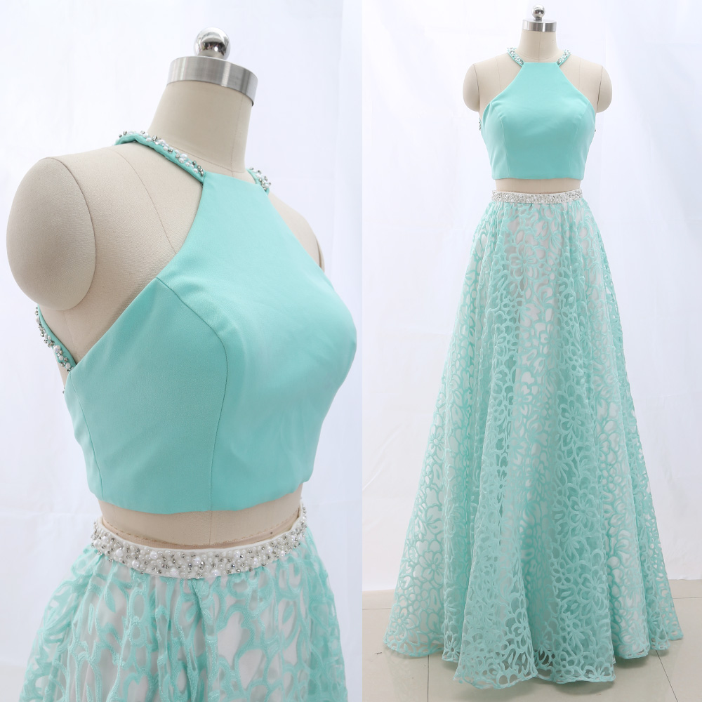 MACloth Turquoise Ball Gown Halter Floor-Length Long Crystal Tulle   Prom     Dresses     Dress   L 265673 Clearance