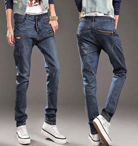 Осень Для женщин узкие брюки на каждый день, модные, облегающие брюки от «Harlan» больших размеров свободного кроя на застежке-молнии и на пуговицах женские джинсовые брюки джинсы
