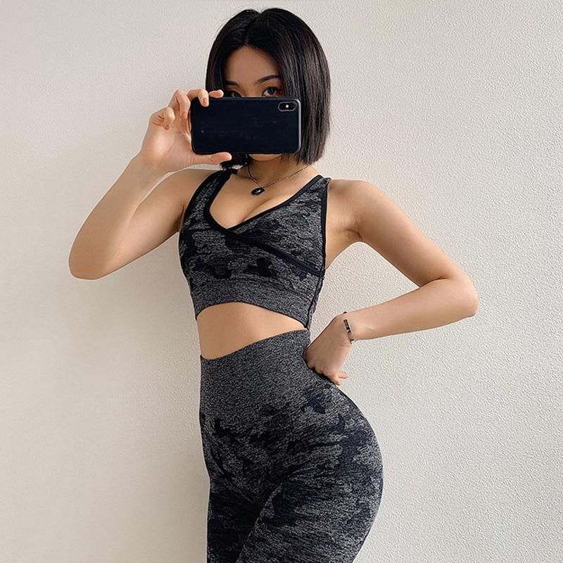 C2Women's Gym Fitness Clothing Booty Yoga Leggings & Sport Bra Sets