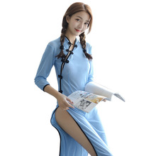 Chinese Classical Cheongsam Students Dress Retro Collar See Through Role Play Women Sexy Nightwear Sleepwear Lingerie