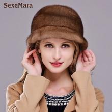 Hot sale danish mink fur hat for women winter keep warm whole mink cap 2017 brand new thick female headgear women's hat