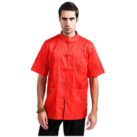 Hot Sale Red Chinese Men Kung Fu Shirt Short Sleeve Cotton Linen Tops Vintage Totem Button
