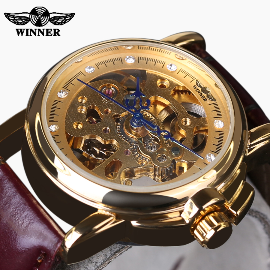 Winner Skeleton Watches for Girl Fashion Clock font b Womans b font Wrist Fashion Brand Luxury