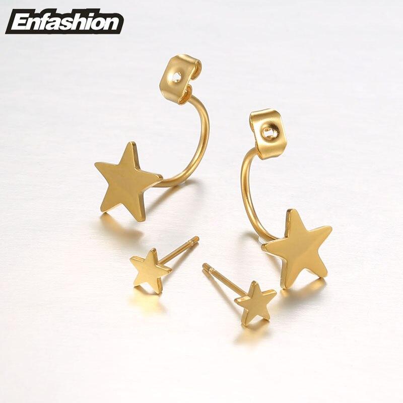 Enfashion Schmuck Doppel Stern Ohrringe Schwarz Ohrstecker Rose Gold - Modeschmuck - Foto 5