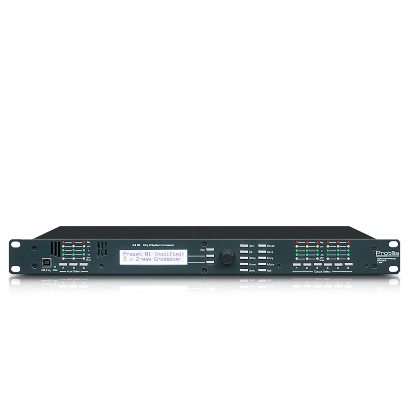 Speaker Processor 3 6SP 1U Rackmount Full Programmable 3 Input 6 Output 24 Bit Digital Audio