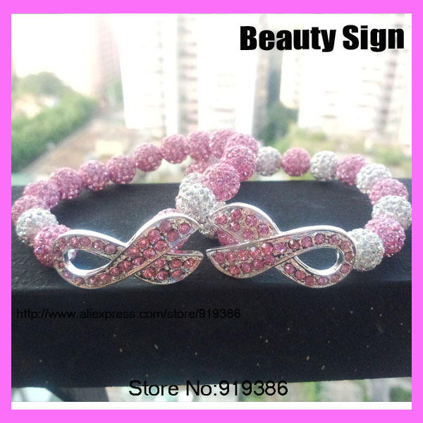 charms 2 style metal ribbon pave pink rhinestone zirconia with white round beads  breast cancer awareness f6be2fc775b3