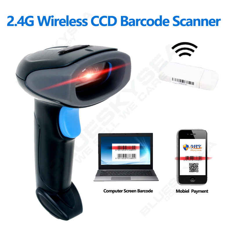 Бесплатная доставка! 2,4 г Беспроводной сканера штриховых кодов 1D CCD Экран штрих-кодов для Мобильных Платежей