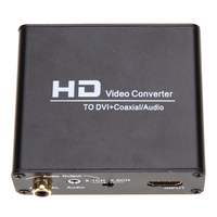 1080P HD Video HDMI To DVI Coaxial Audio Converter Adapter Box For PS3 Blue Ray DVD