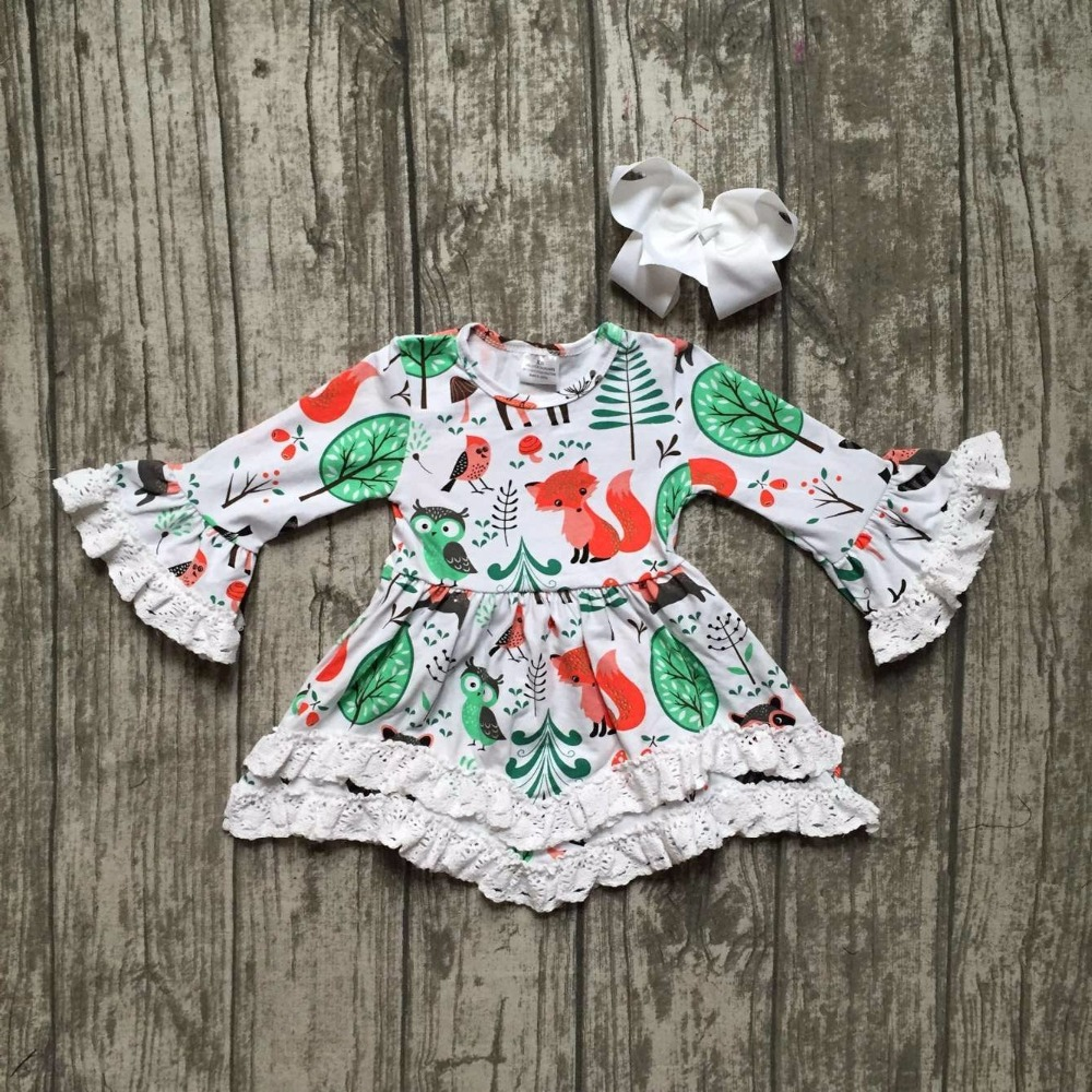 Children clothes baby girls Fall Winter lace print fox animal cotton dress boutique long sleeve with matching accessory bow эксмо война и мир в футболе коллекционное издание