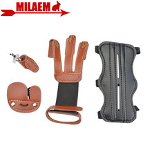 1Set Archery Arm Guard Finger Guard Kit 3finger Protection Gloves Protective Gear Set Bow And Arrow Hunting Shooting Accessories все цены