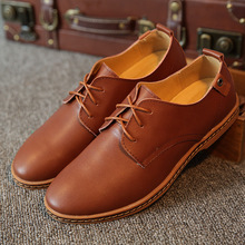 Men's Flats Oxford Shoes Man Male Pig Full Grain Genuine Leather Cow Muscle Soles Lace-Up Casual Spring Superstar Brand*JFN-4184