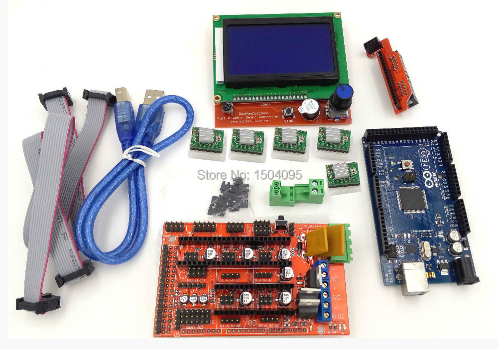 1pcs Mega 2560 R3 + 1pcs RAMPS 1.4 Controller+1pcs 12864 controller + 5pcs A4988 Stepper Driver Module  for 3D Printer Kit