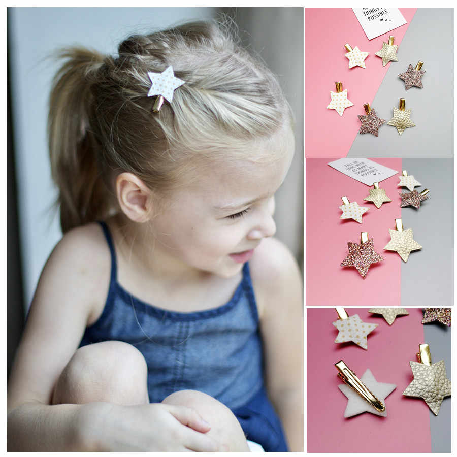 NEW 6-10pcs/set Sythetic Leather small star hair clips for girls and 8.7cm hair Bow hairpin girls children hair accessories