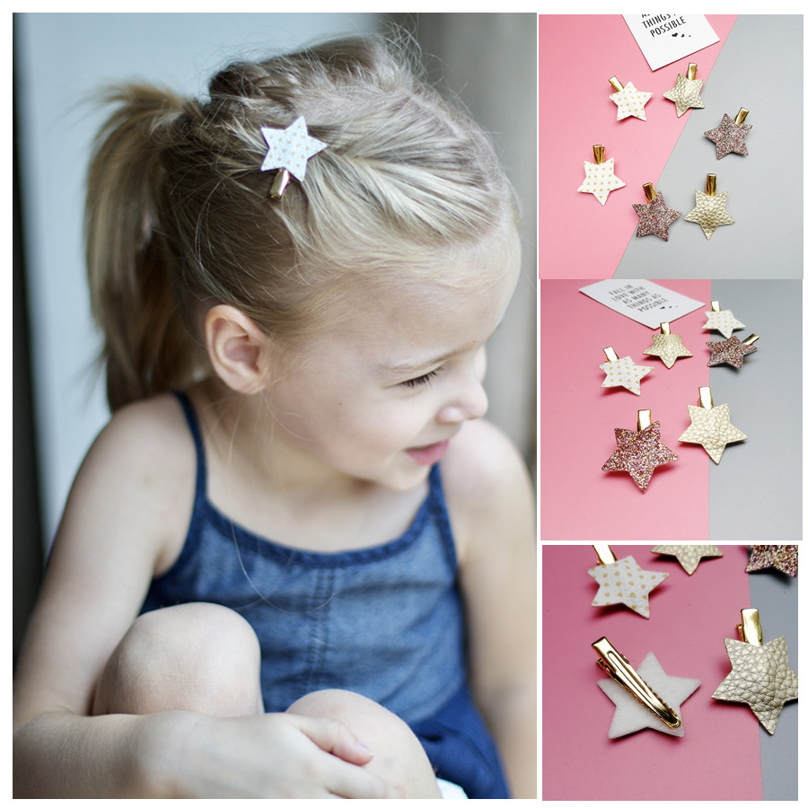 2/6/10pcs/set Synthetic Leather Stars Butterfly Hair Clips For Girls Flower Hair Bow Hairpin Girls Children Hair Accessories
