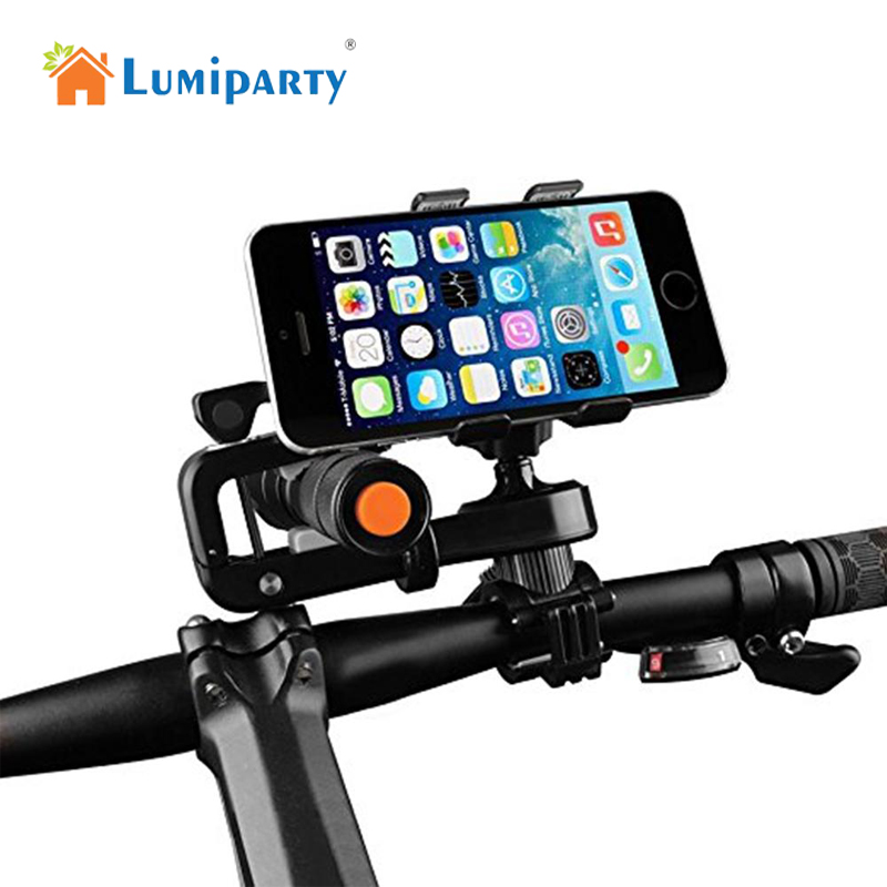 LumiParty Bike Light Phone Mount Flashlight Holder Bicycle Light Clamp Multifunction Lamp Handlebar Holder Bike Accessories leadbike a44 bike handlebar phone bag