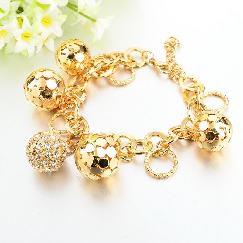 LongWay Strand Bracelet Silver Color Gold Color Bracelets with Hollow Ball Crystal For Women Bracelet Accessories SBR160023103 6