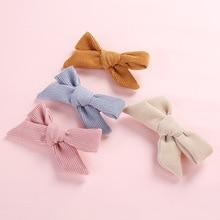 "15 pcs/lot, 3.5"" Corduroy Bow Hair clips, Hand Tied Fabric Bow Nylon Headbands, Girls Hair Accessories"