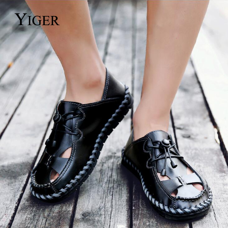 YIGER New Men Sandals Genuine Leather Man Shoes Large Size Hole shoes - Men's Shoes - Photo 5