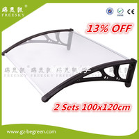 YP100120 100x120cm 2 Sets Clear White Black Door Canopies Canopy Awning Polycarbonate Awning Economy Price For