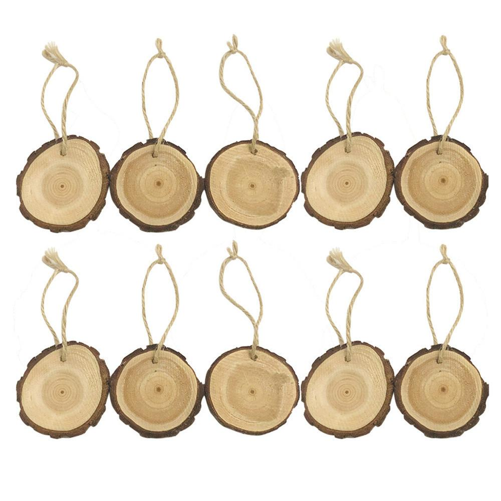 40Pcs Round Wooden Discs with Holes and 12 mm Rings Birthday Board Tags