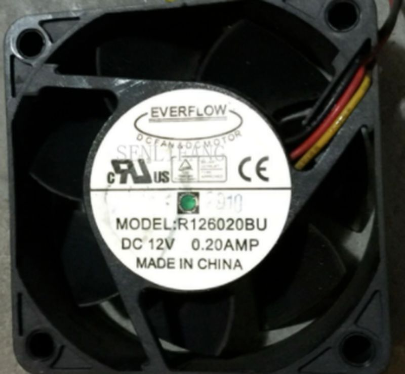 Free Shipping For EverCool R126020BU DC 12V 0.2A 60x60x20mm 4-wire Server Square Fan