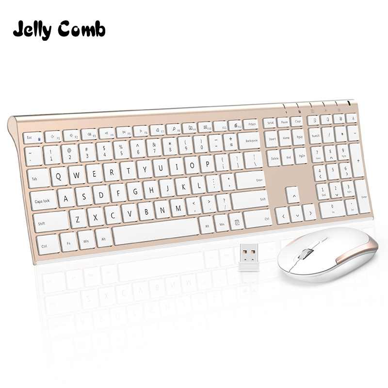 Jelly Comb Ultra Slim 2.4G Wireless Keyboard Mouse Combo Set Portable Scissors Feet Rechargeable Keyboard for Laptop PC Mackbook optical gaming mouse professional 3200dpi adjustable 6 buttons 6d pro pc computer mice usb wired led light mouse gamer black