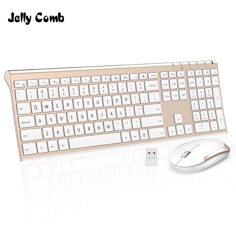 Jelly Comb Ultra Slim 2.4G Wireless Keyboard Mouse Combo Set Portable Scissors Feet Rechargeable Keyboard for Laptop PC Mackbook