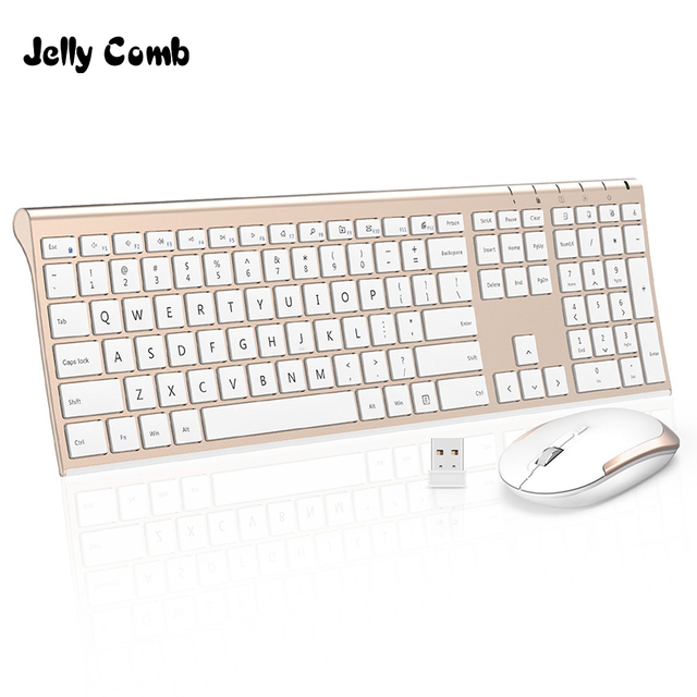 0fc9b07af6c Jelly Comb Ultra Slim 2.4G Wireless Keyboard Mouse Combo Set Portable  Scissors Feet Rechargeable Keyboard for Laptop PC Mackbook