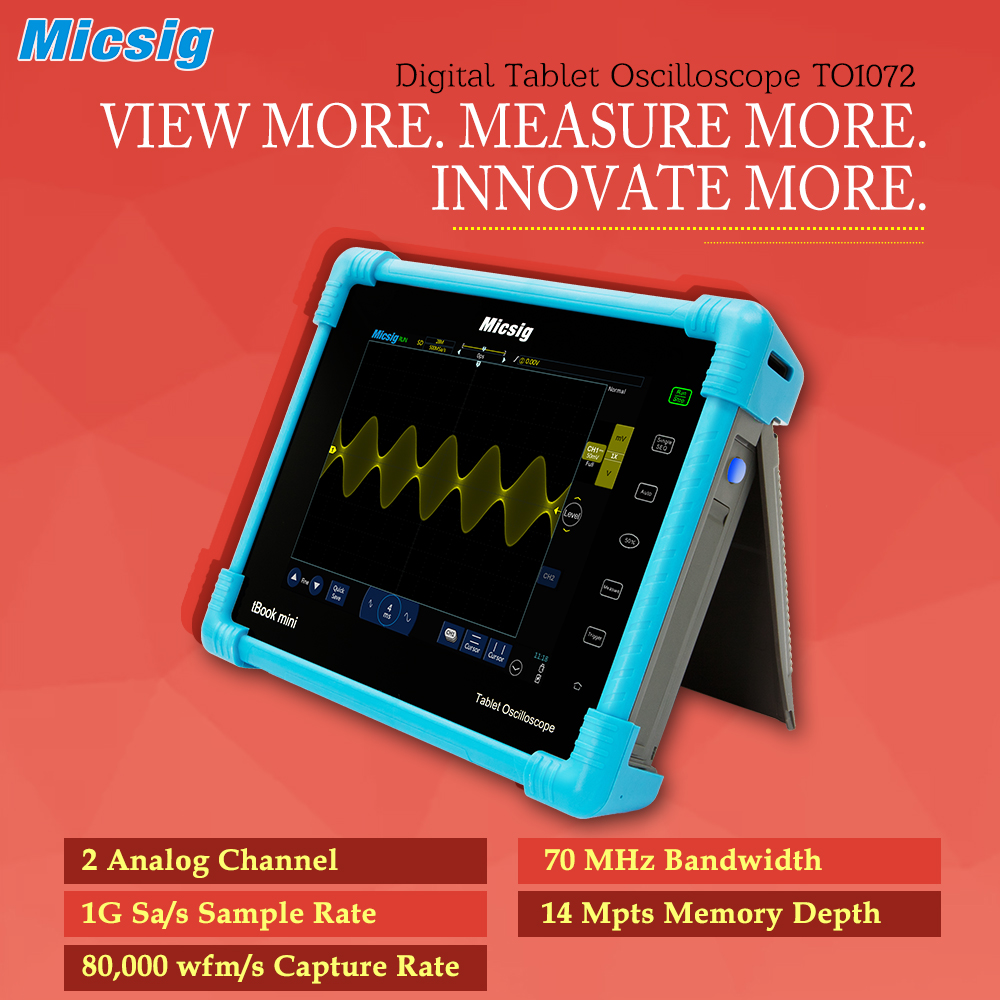 все цены на Digital Tablet Oscilloscope TO1072 70MHz 2CH 80000wfm/s touchscreen oscilloscope portable Automotive diagnostic oscilloscope kit онлайн