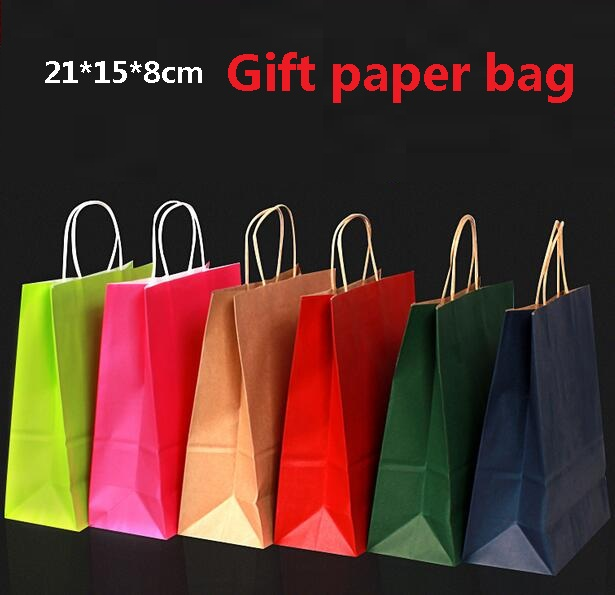 40PCS/lot Gift Kraft Paper Bag With Handles Dark Color/ Multifunction  21x15x8cm Festival Gift Bag Wedding Party/ High Quality