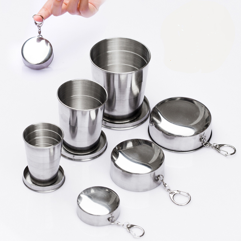 Mini Stainless Steel Portable Outdoor Travel Camping Folding Collapsible Cup Telescopic Mug With Keychain 75Ml 150Ml 240Ml (34)