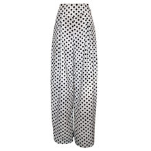 Young17 Casual High Waist Long Black Polka Dot Pants Office Work Women White Loose Wide Legs Pants Pleated Pantskirt Trousers(China)