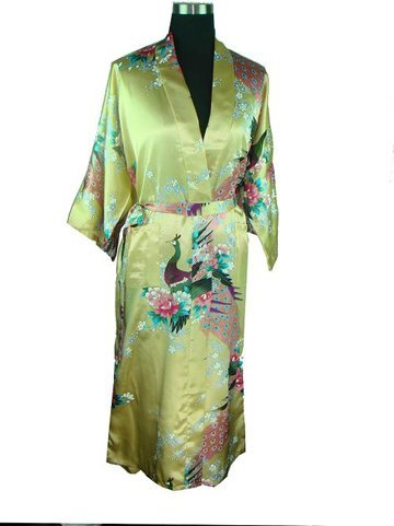 Gold Chinese womens robe gown sleepwear Bathrobe  RB0057 S M L XL XXL XXXL