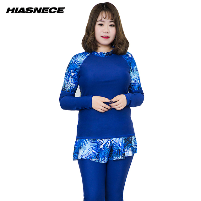 e67fd4d555 Plus size Rash guard Long Sleeve 2 piece swimsuit solid and printed short  dress 2018 New