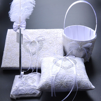 5 Teile/satz Hochzeit Dekoration Zubehör Satin Hochzeit Ringkissen + Blume korb + Gästebuch + Pen-Set + Strumpfband Produkt versorgung