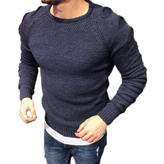 Новый Для мужчин свитера из мериносовой шерсти с круглым вырезом Джемпер Пуловер Вязаный топ плотная дизайнерские рваные свитер Топ для Дл...