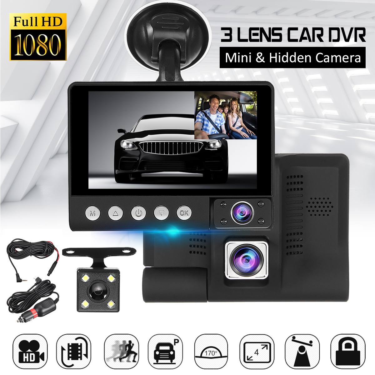 цена на 3 Way Car DVR Monitor Dual Lens IPS 4 FHD 1080P Car Video Recorder Camcorder Auto Registrator Dashcam + Rearview Camera