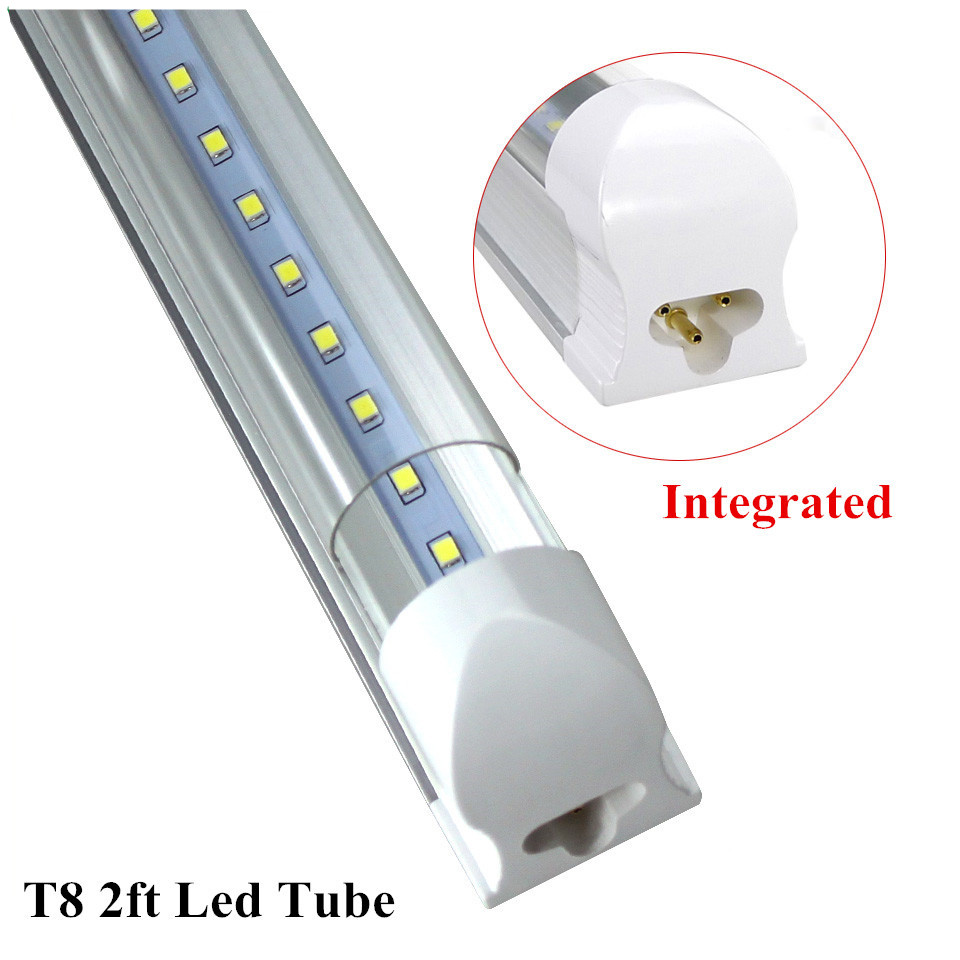 1pc/lot LED Tube T8 2ft 10W Integrated Tube Lamp 600mm Led Bulbs Tube AC85-265V G13 SMD2835 1000lm Lighting Tubes ...