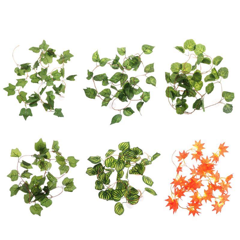 Artificial Plants for Reptile Case Simulation Lifelike Plant Vine Leaf Leaves Decoration Ornaments Habitat Supplies with Suction