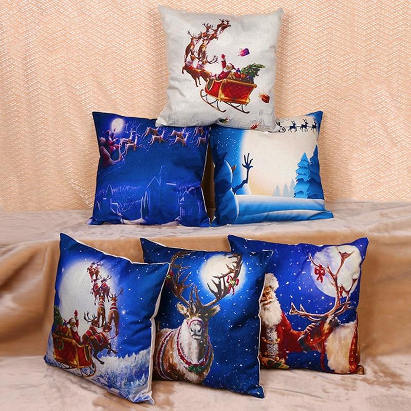 45x45cm Christmas Cushion Cover Pillow Case Square Pillowcase Sofa Cushion Case Home Textile 45x45cm F