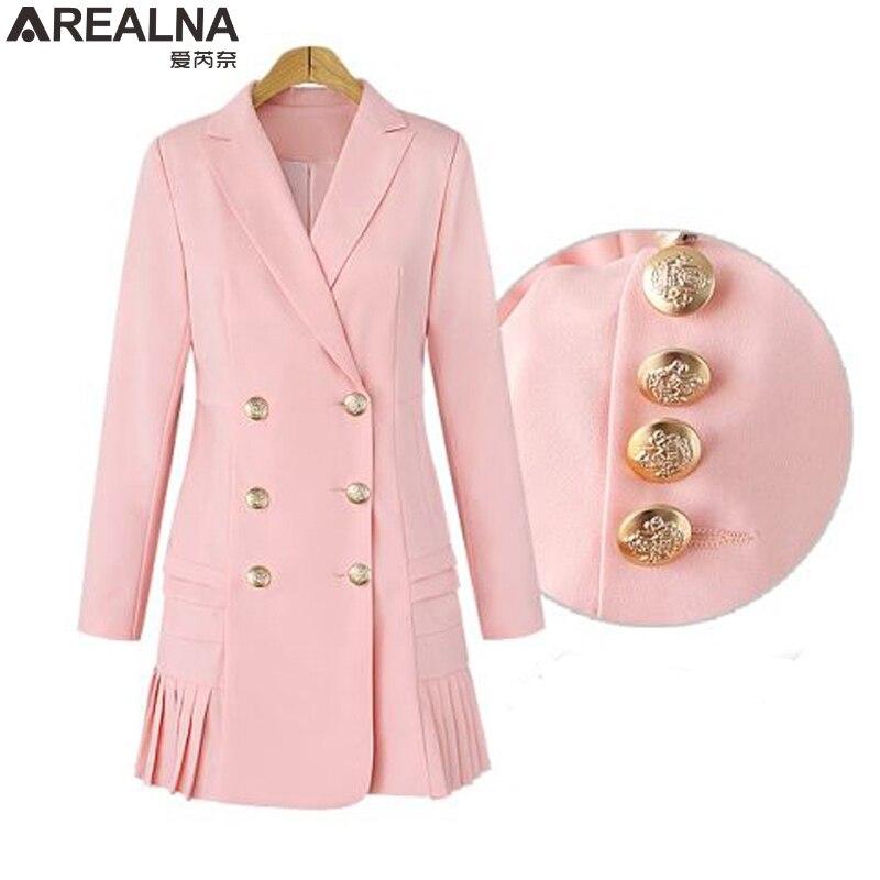 2017 Autumn Winter women blazers and jackets OL double breasted long suit coat jacket casual outwear blazer feminino Plus Size
