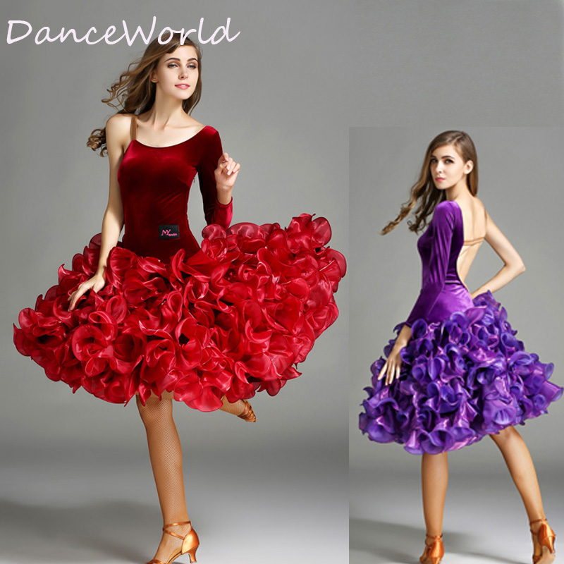 1ed92171ff38 new woman big lotus leaf Velvet Latin dance dress for competition ...