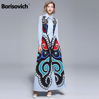 Borisovich Runway Maxi Dress Designers New Brand 2018 Autumn Fashion Vintage Print Elegant Women Evening Party Long Dresses M782