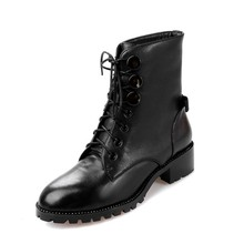 Fashion Black Patent Leather Lace Up Women Ankle Boots Classical Square Heels Handsome Woman Motorcycle Boots