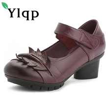Female Genuine Leather Shoes 2017 Summer Women Shallow Mouth Round Toe Mother Shoes Soft Bottom Mid Heels Pumps Zapatos Mujer