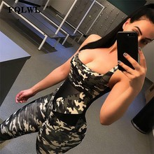 FQLWL Sportkleding Camouflage Skinny Fitness Jumpsuit Vrouwelijke 2018 Trainingspak Backless Bodycon Sexy Rompertjes Womens Jumpsuit Overalls()