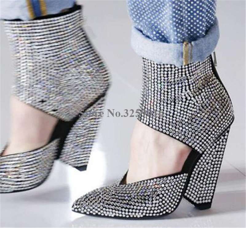 Women Bling Bling Charming Pointed Toe Rhinestone Spike Heel Short Boots Crystal Ankle Wrap Strange Heel Ankle Booties HeelsWomen Bling Bling Charming Pointed Toe Rhinestone Spike Heel Short Boots Crystal Ankle Wrap Strange Heel Ankle Booties Heels