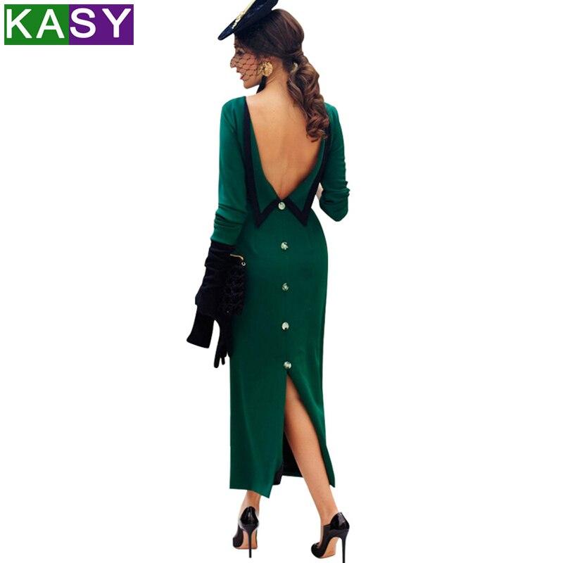 Женское элегантное вечернее платье на пуговицах с открытой спиной, сексуальное облегающее длинное платье с разрезом сзади, винтажные празд...