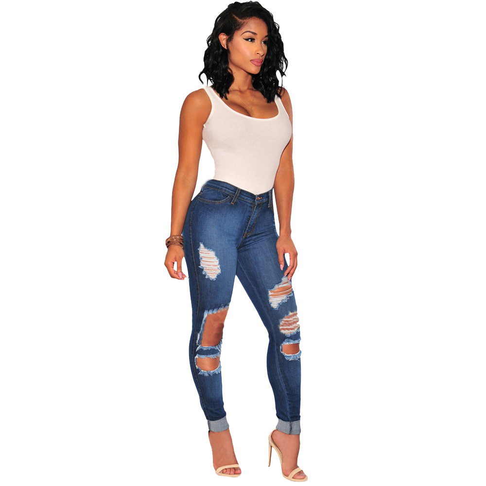 Summer Denim Pants Cropped Ripped Jeans Cotton Trousers Pencil Pant in Black Women Trousers vintage holes Ripped jeans цена